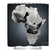 Mother Africa With A Rhino  Shower Curtain