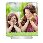 Mother With Daughter Outdoors Shower Curtain