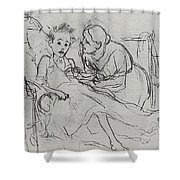Mother With Sick Child 1878 Fig 29 9h22 6 Tg Vasily Perov Shower Curtain