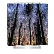 Motion Blurred Trees In A Forest Shower Curtain