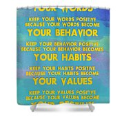 Motivational Quotes - Keep Your Words Positive - Ghandi Shower Curtain