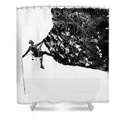 Mountain Climber-black Shower Curtain