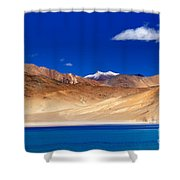Mountains And Rocks Pangong Tso Lake Leh Ladakh Jammu Kashmir India Shower Curtain