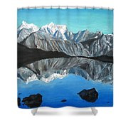 Mountains Landscape Acrylic Painting Shower Curtain