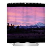 Mt Rainier Frosty Sunrise Shower Curtain