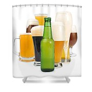 Mug Filled With Beer And Bottles Shower Curtain by Deyan Georgiev