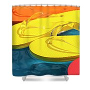Multicolored Flip Flops Floating In Pool Shower Curtain