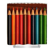 Multicolored Pencils In Rows Shower Curtain