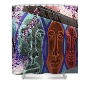 Mural Faces Shower Curtain