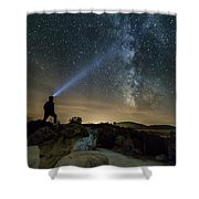 Mushroom Rocks Phenomenon Under The Night Sky Shower Curtain