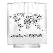 Music Notes Map Of The World Shower Curtain