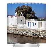 Mykonos Church Shower Curtain