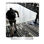 Navy Seals Jump From The Ramp Of A C-17 Shower Curtain