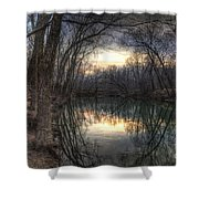 Neath The Willows By The Stream Shower Curtain