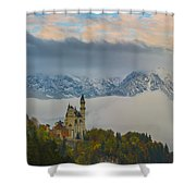 Neuschwanstein Castle Landscape Shower Curtain