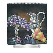 Fruit N Silver Shower Curtain