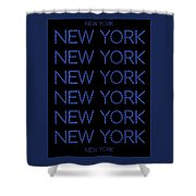 New York - Blue On Black Background Shower Curtain