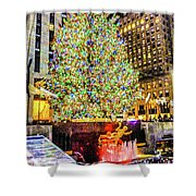 New York City Christmas Tree Shower Curtain