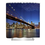 New York City Skyline By Night Shower Curtain