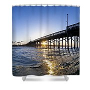 Newport Pier Curl Shower Curtain