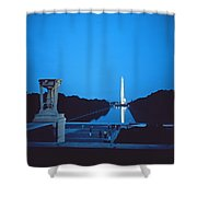 Night View Of The Washington Monument Across The National Mall Shower Curtain by American School