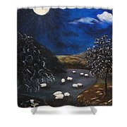 Night Watch In The Highlands Shower Curtain