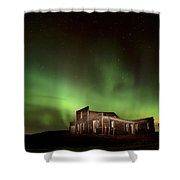 Northern Lights Canada Abandoned Building Shower Curtain