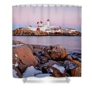 Nubble Winter Dusk Shower Curtain
