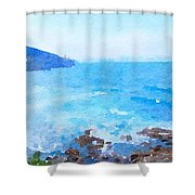 Ocean Coastline Watercolor Shower Curtain