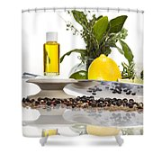 Oil Mixture Of Essential Oils For Aromatherapeutic Use Shower Curtain