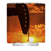 Oil Rig Pump Jack Silhouetted By Setting Sun Shower Curtain