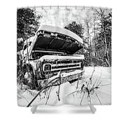 Old Abandoned Pickup Truck In The Snow Shower Curtain