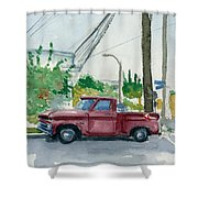 Old Chevy On Wallnut Shower Curtain
