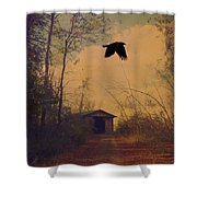 Lone Crow Flies Over The Old Country Road  Shower Curtain