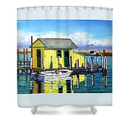 Old Crab Yellow Shacks Of Tangier Island Shower Curtain
