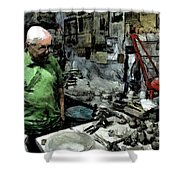 Old Craftsman Portrait In The Laboratory Shower Curtain