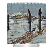Old Fences Shower Curtain
