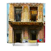 Old Havana Building Shower Curtain