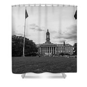 Old Main Penn State Black And White  Shower Curtain