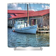 Old Point Crabbing Boat Shower Curtain