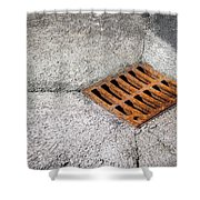 Old Rusty Street Grate Near The Sea In Cres Shower Curtain