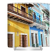 Old San Juan Houses In Historic Street In Puerto Rico Shower Curtain