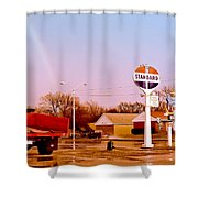 Old Signs At The Mother Road - Standard Oil And Motel - Route 66 Shower Curtain