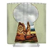 Old Spanish Trail Marker Shower Curtain