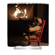Old Teddy Bear Sitting Front Of The Fireplace In A Cold Night Shower Curtain