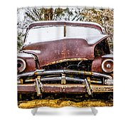 Old Vintage Plymouth Automobile In The Woods Covered In Snow Shower Curtain