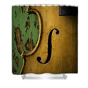 Old Violin Against Green Wall Shower Curtain