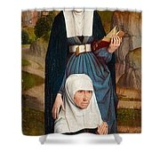 Old Woman At Prayer With St. Anne Shower Curtain