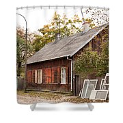 Old Wooden House With Tar Shower Curtain