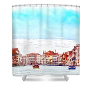 On A Boat Trip On The Grand Canal In The Beautiful City Of Venice In Italy Shower Curtain